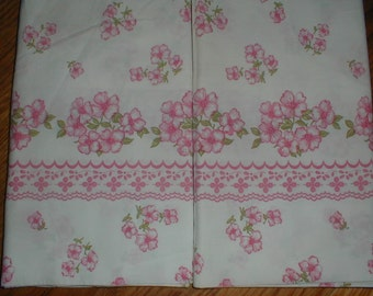 Two Pillowcases Pink Flowers On White *Country Cottage Decor* Pretty Pair