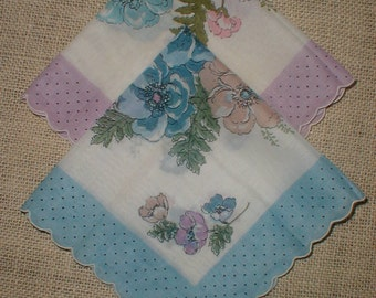 Two Large Vintage Matching Flower Hankies/Handkerchiefs *Polka Dot Scalloped Edges* Blues Purples