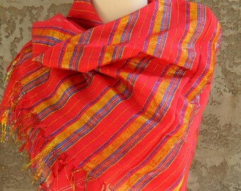 Extra Large Square Red and Metallic Striped Scarf / Vintage Scarf / Large Poncho Square Scarf