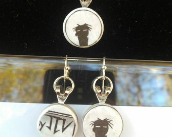 JTHM jewelry set recycled comic book earrings and matching necklace handmade spooky jhonen Vasquez ooak