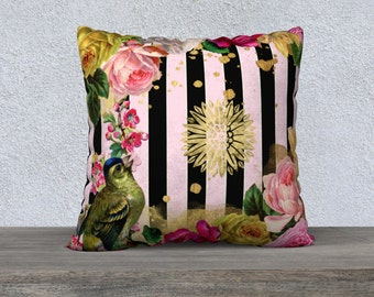 Pink & Black Stripe with Vintage Flowers, Bird Cushion Cover