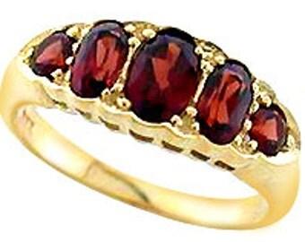Victorian Garnet Ring, 9ct 9k Solid Gold, Womens Vintage Garnet Ring, Antique Garnet Ring - Avail in Various Gems + 14k, 18k -Custom R222