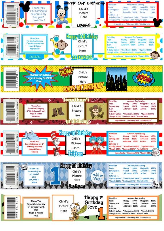 Printable Baby Food Jar Custom Labels Birthday Sample Boys