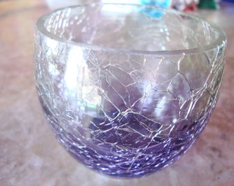 THE WHITE BARN Candle Company Signed With Original Label Clear Purple Vintage Crackle Glass Candle Votive Holder Cup Bowl