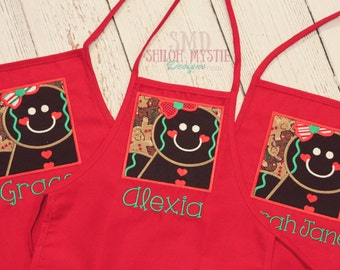 Gingerbread Personalized apron-Child's Christmas Apron-holiday apron