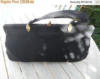 25% OFF Elegant Black Wool Handbag, 1950's Purse,