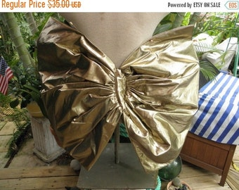 "25% OFF Huge 2 Foot Gold Lame Vintage Bow, 26"" x 21"", Gold Metallic Bow, Hair Accessory, Gold wings"