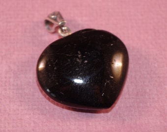 Black Tourmaline Handcut OOAK Heart Pendant Metaphysical New Age Protection Gemstone Magick Pagan Wicca bth16H