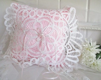 Wedding pillow, ringer bearer pillow, pink satin & lace pillow, wedding pillow, flower girl pillow, custom