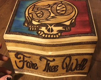 Grateful Dead FARE THEE WELL 50 Hand WoodBurned Box