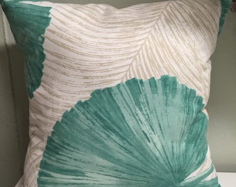 2 Pillow Covers 18x18 inch-Free US Shipping - Kaufmann Palm Leaves in Turquoise