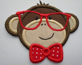 Boy Monkey with glasses embroidered iron on applique  patch