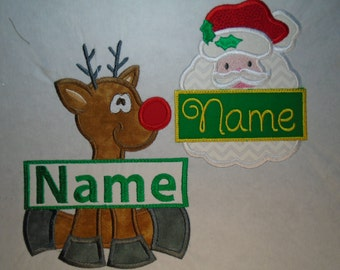 Custom Christmas personalized frame iron on or sew on applique patch