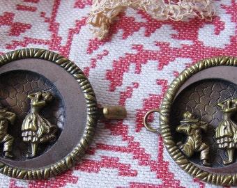 Button Cloak Clasp Vintage Closure Ladies Elegant Pulcinella Figural Large Button Antique Fashion Accessory Edwardian Era Cloak Clasp