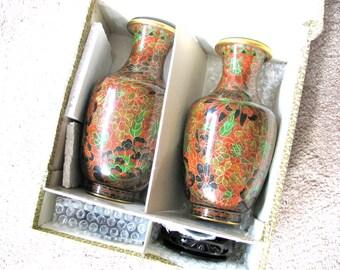 Pair of Cloisonne vases, vintage Cloisonne, carved wood stand,original box