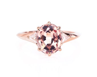 Rose gold diamond engagement ring, 18k 2.2ct. Mahenge Garnet, oval color change stone, modern simple one of a kind, unique ring