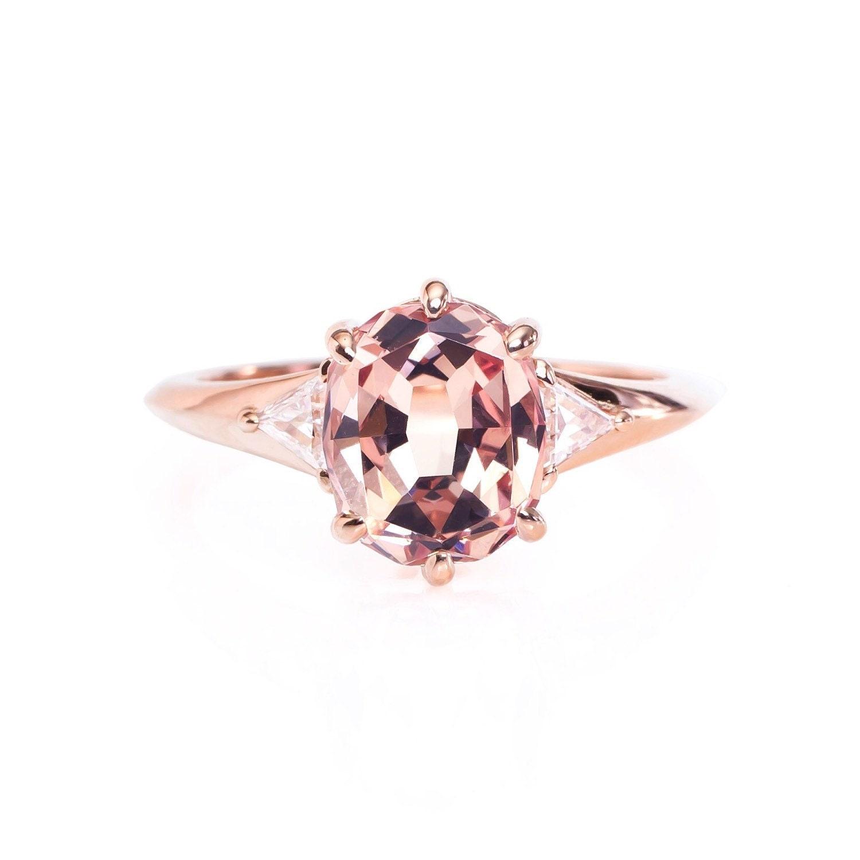 Rose gold diamond engagement ring 18k 2 2ct Mahenge Garnet