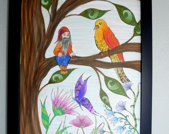 Gnome and bird drawing, wildlife art, Colorful original art, Framed art, Gnome and bird on branch with abstract details, fantasy art