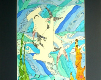 Hammerhead shark drawing,pen and ink, sea life, Colorful original art, Sharks with abstract details, fantasy art