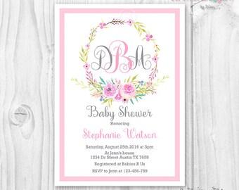 Wreath monogram baby shower invitation watercolor flowers