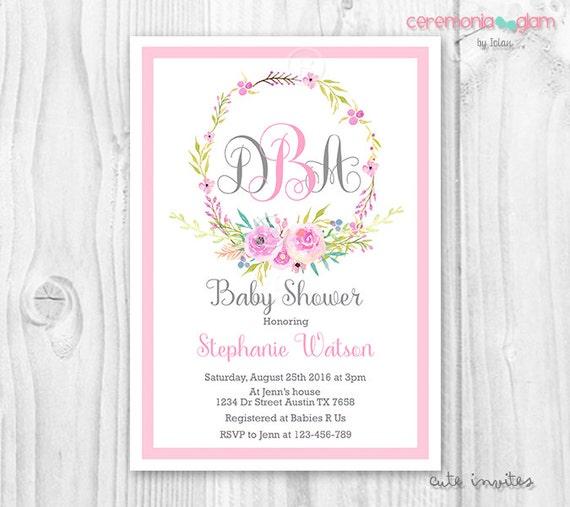 Wreath monogram baby shower invitation watercolor flowers monogram il570xn filmwisefo