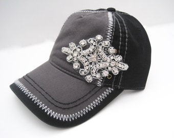 Two Tone Grey and Black Trucker Baseball Cap Hat with Gorgeous Rhinestone Accent