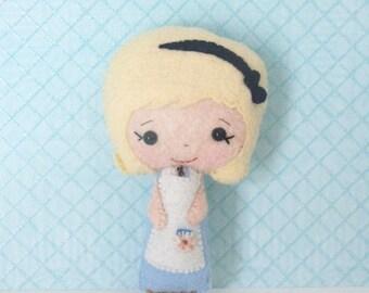 BACK 2 SCHOOL SALE Felt Doll - Small Alice Doll - Small Doll - Alice in Wonderland