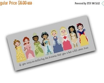 HALLOWEEN SPECIAL SALE Disney Princess Pixel People Cross Stitch Pattern - Girls Cross Stitch - Easy Cross Stitch Pdf