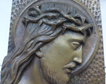 Religious Bronze Christ Free Standing Plaque. French Circa 1920's