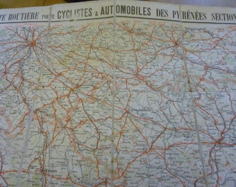 Antique Map On Linen, Pyrenees East, Taride 1920's