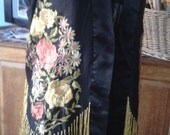 Vintage 1920s Black Satin/Silk Embroidered Jacket with Yellow Fringe - Gorgeous!
