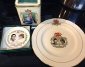 1980's Prince Charles and Lady Diana commemorative Wedding collectibles plates tin