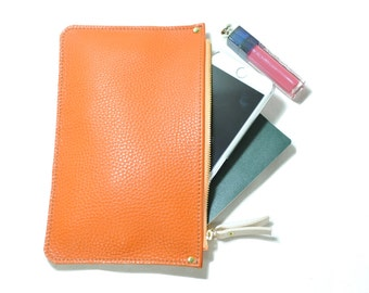 Orange Leather Clutch - leather zip pouch, leather zip clutch, Iphone zip wallet, leather zipper pourch, cell phone wallet, evening clutch