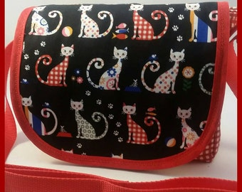 Red Gingham Cats Mini Messenger Bag