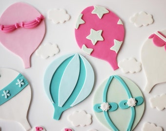 Fondant Hot Air Balloon Cake Topper Set - Hot Air Balloon Cake - Hot Air Balloon Party - Fondant Balloon - Up Up and Away - Fondant Clouds