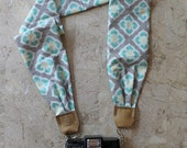 Turquoise, Lime Green + Gray Scarf Camera Strap