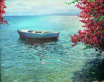 Primavera. Spring at the Sea of Galilee. A boat and the Bougainvillea , By Miki Karni