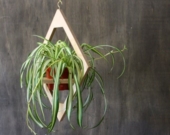 Modern Hanging Planter- Mid Century Plant Stand- Geometric Wooden Planter- Indoor Brass Planter- Boho Decor- Modern Plants- Modern Home Gift