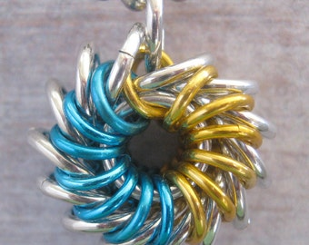 Whirlybird Pendant Chainmaille Turquoise and Gold Aluminum Necklace