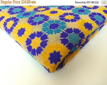 ON SALE Yellow purple graphic flowers  India velvet silk brocade fabric nr 164 fat quarter