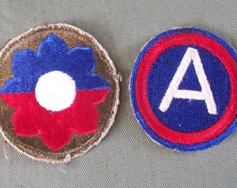 WW2 US Army Patches, 9th Infantry Division & 3rd. Army Shoulder Patch