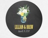Chalkboard Favor Labels, Chalkboard Favor Tags, Favor Stickers, Wedding Labels, Printed Labels, Stickers, Watercolor, Mason Jar, Lillian