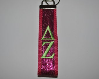 Delta Zeta Sorority Keychain-Hot Pink Glitter Ribbon Hot Pink Webbing with Lime Monogramming KeyFob Wristlet (OFFICIAL LICENSED PRODUCT)