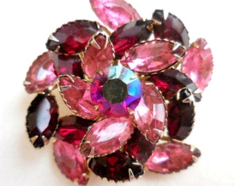 Red Pink Glass Pin, Navette Rhinestone, Brooch, Pinball, Flower, Art Deco 1940s Retro Vintage Jewelry SUMMER SALE