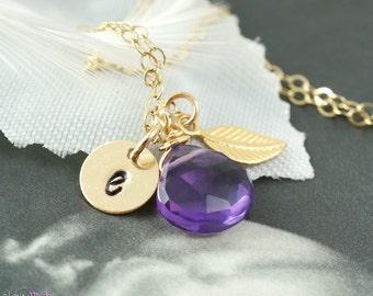Gold leaf necklace, simple gold necklace, amethyst gemstone, amethyst necklace, gold filled jewelry