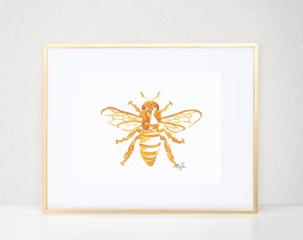 Bee Print, Gold Bug Illustration - Fashion Wall Art Watercolor Painting, Worker Bee