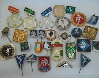 Set of 29 pin badges on the sport theme - Box, swiming, wrestling, football. Made in the USSR.