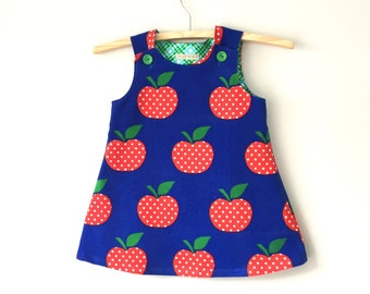 Girls dress pinafore jumper dress retro 70s Scandinavian style dress