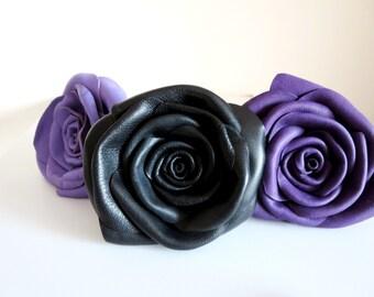 Black leather rose shoe clips-flower hair tie-leather Flower shoe clips - Leather rose brooch -pin  flower - Wedding bridesmaid gift idea