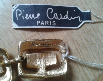 PIERRE CARDIN  mODERNIST Gold Plated+Black Enamel,Art DECO' Art Nouveau Bracelet,  Rhinestones bracelet, Vintage unused,France.